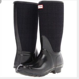 "Hunter ""Arlen"" black and navy plaid rain boots"